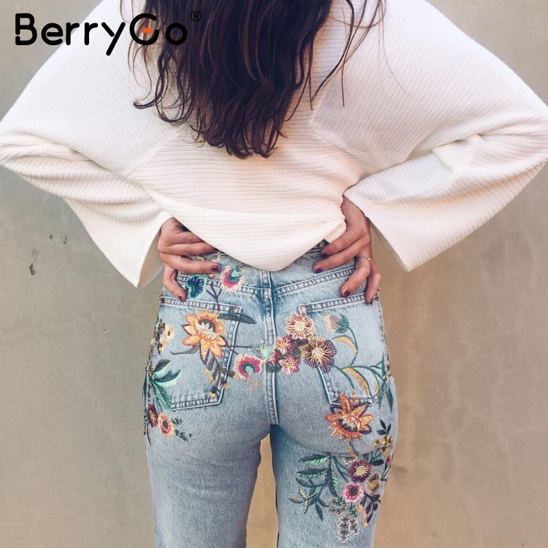 BerryGo Floral embroidery jeans woman Casual high waist jeans pants Spring light blue denim pencil pants women trousers 2018 flower embroidery jeans female blue casual pants capris 2017 summer pockets straight pencil jeans women bottom 3329