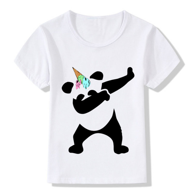 1abc3b0c5 Children Surprised Dabbing Panda Ice Cream Unicorn Design Funny T-Shirt  Kids Baby Cute Clothes Boys/Girls Summer Top Tee,HKP5066