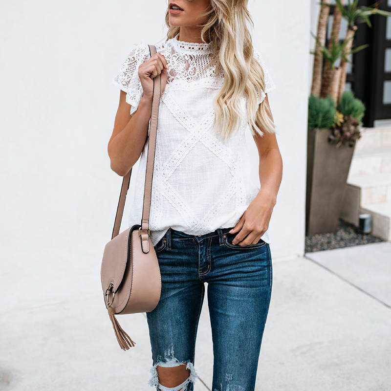 White black women lace patchwork hollow out blouses shirts female office lady Summer 2018 blusas shirt top WS8786y