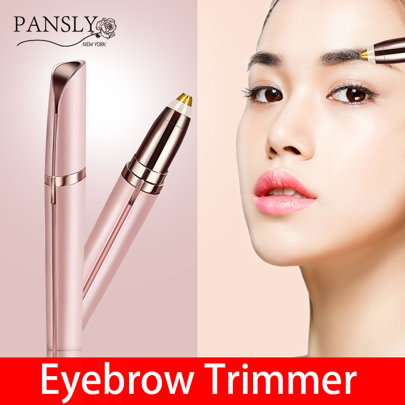 Mini Electric Eyebrow Trimmer Lipstick Brows Pen Hair Remover Painless Eye Brow Razor Epilator with LED Light flawless kaş bıyık tüy epilasyon aleti