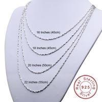 1.2mm 16 18 20 22 Inches White Rhodium Plated Top Quality 925 Solid Sterling Silver Ingots Chain Necklace For Men Women SCN-T04