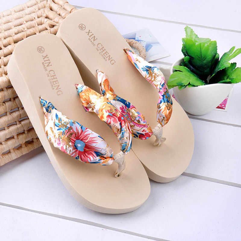 Kadın ayakkabı Surmmer Bohemian çiçek plaj sandaletleri kama platformu kayış terlik plaj tatil Flip flop rahat Women2.881