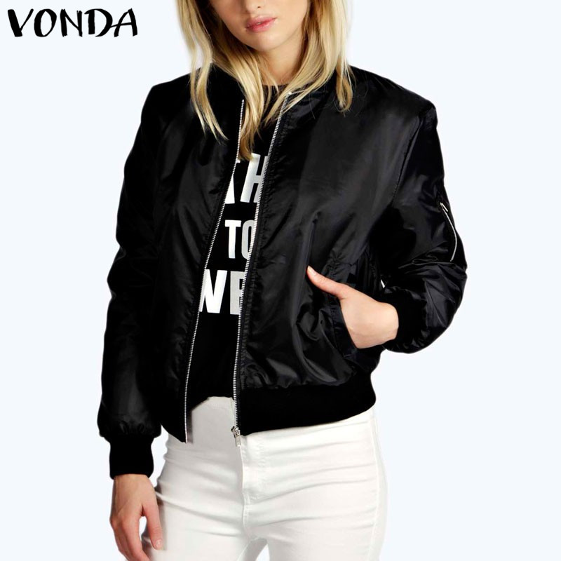 VONDA Maternity Clothings 2018 Women Pregnancy Bomber Jackets Coats Casual Stand Collar Long Sleeve Outwear Tops Plus Size 5XL