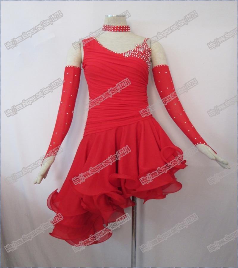 Red new Latin dance dress,ballroom dress Rumba Jive Chacha Ballroom Latin Dance Dress Girls Women dancing Dresses
