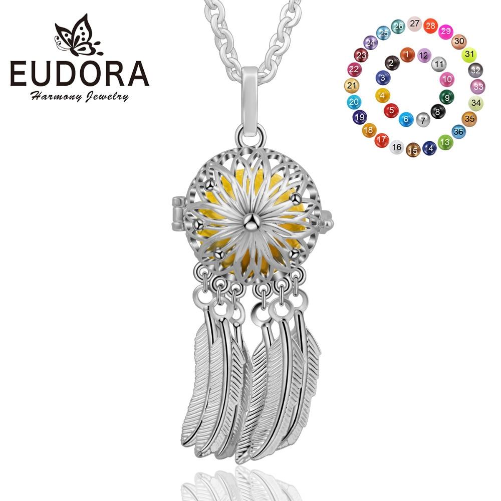 Eudora Harmony collar de atrapasueños Chapado en plata Ángel llamador flor medallón colgante apto 18MM Chime Ball Mexcain Bola K258