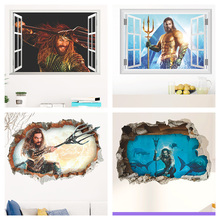 Aquaman Arthur Curry 3d Window Hole Wall Stickers For Home Decoration Diy Movie Poster Kids Room Wall Mural Art Pvc Decals цена и фото