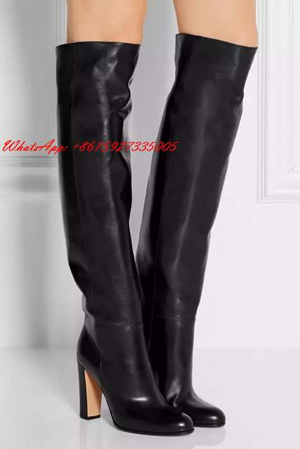 Online Shop 2018 New Sexy Black Leather Thigh High Boots Women