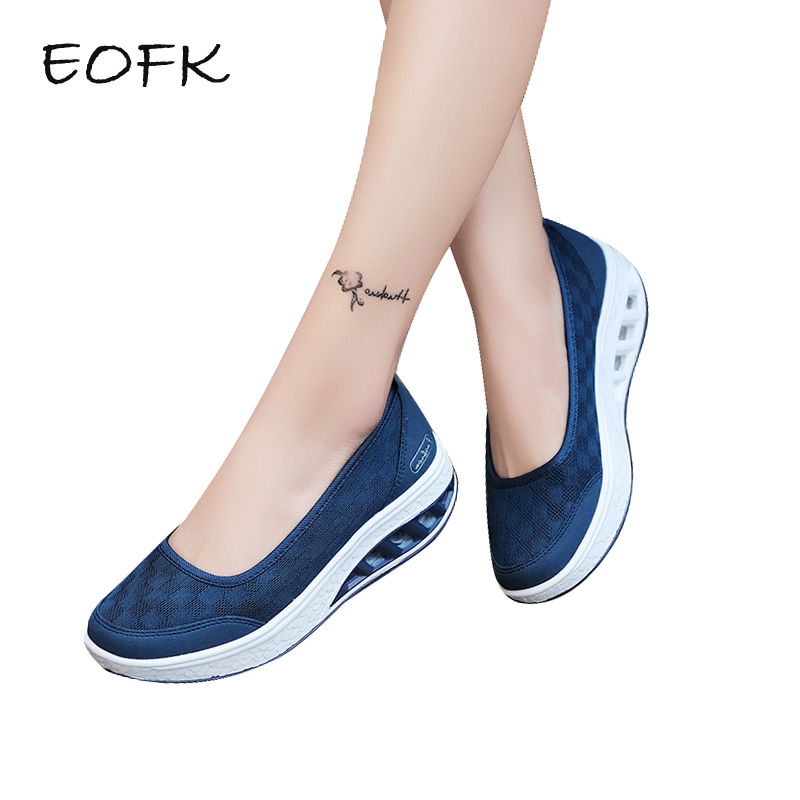 EOFK 2019 Summer Women Flats Platform Shoes Woman Casual Light Soft Air Mesh Breathable Shoes Slip