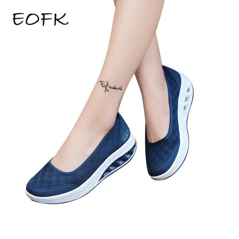 EOFK 2019 夏の女性のフラット厚底靴の女性のカジュアルな光ソフトエアメッシュ通気性の靴にスリップ生地靴 zapatos mujer  グループ上の 靴 からの レディースフラット の中 1