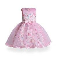 Girls Princess Dress Baby Ice Cream Print Vestido Big Girls Cotton Lining Party Clothing Performance Costume