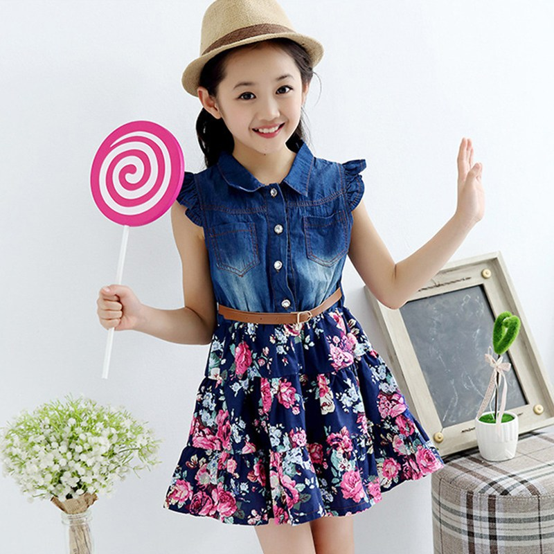 Fashion Girls Denim Dress Baby 2018 Summer Soft Cotton Dresses Girls Sleeveless Floral Dresses with Belt Kids Dress-style Blouse summer girls dresses denim dresses for girls vestido infantil coat denim baby dress 2pcs set with belt toddler party clothes