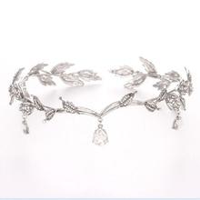 Vintage Crystal Bridal Hair Accessory Wedding Imitation Rhinestone Waterdrop Leaf Tiara Crown Headband Frontlet Bridesmaid Hai