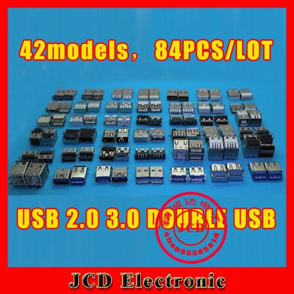 (42models,84PCS),USB jack socket connector for USB 2.0 3.0 double usb jacks