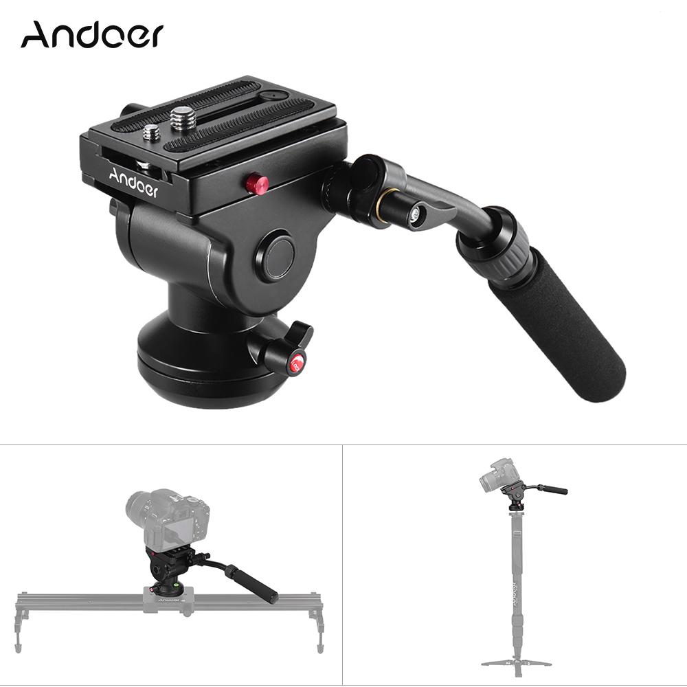 Prix pour Andoer Hydraulique Panoramique Caméra Trépied Tête Vidéo Drag Fluide Pan Head pour Canon Nikon Sony DSLR Camera Caméscope Tir
