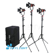 3 Pcs CAME TV Q 55W Boltzen 55w High Output Fresnel Focusable LED Daylight Kit With Light Stands