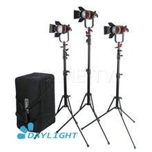 3 pièces CAME TV Q 55W Boltzen 55w MARK II haute sortie Fresnel focalisable LED Kit de lumière du jour avec supports de lumière