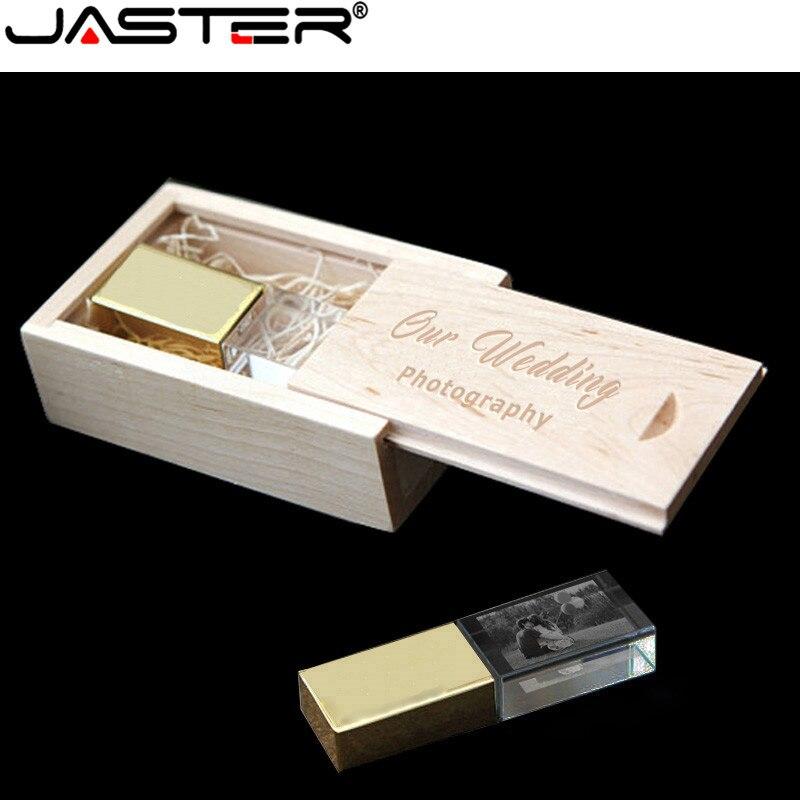 JASTER Custom Photo Gold In Crystal USB Flash Drive 4GB 8GB 16GB 32GB Pendrive USB Memory Stick With Box(Over 10 PCS Free Logo)