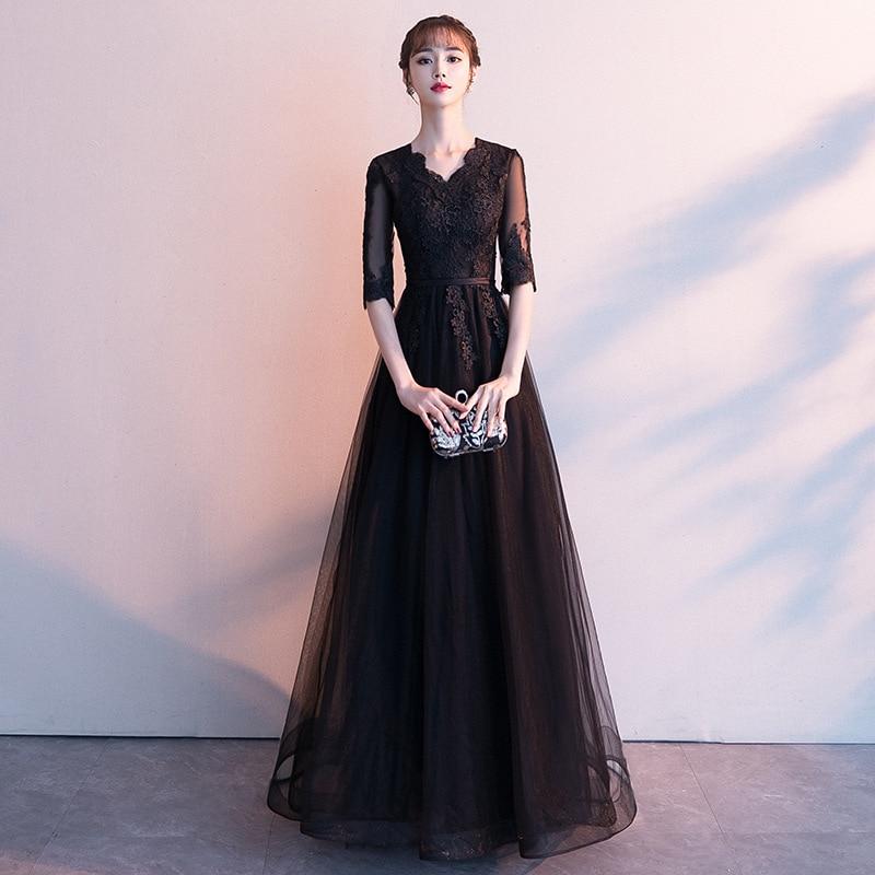 2019 Temperament Evening Dress Female Fashion Banquet Noble Long Black Ladies Party Dresses Slim Dress
