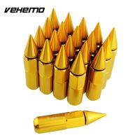 Vehemo 20PCS Spiked Aluminum 24K Gold Plated Extended Lug Nuts Replacement For Car Wheel Rims 90MM Repair High quality