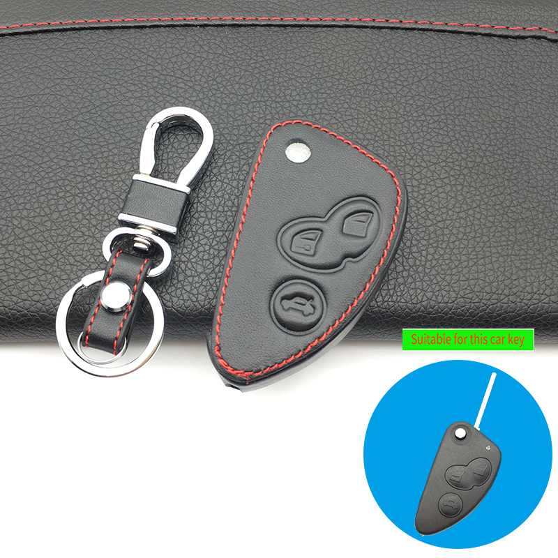 100% Leather Key Cover Case Set For Alfa Romeo 147 156 166 Gt Jtd Ts Remote Flip Car Key Jacket Wallet Bag Protect Shell