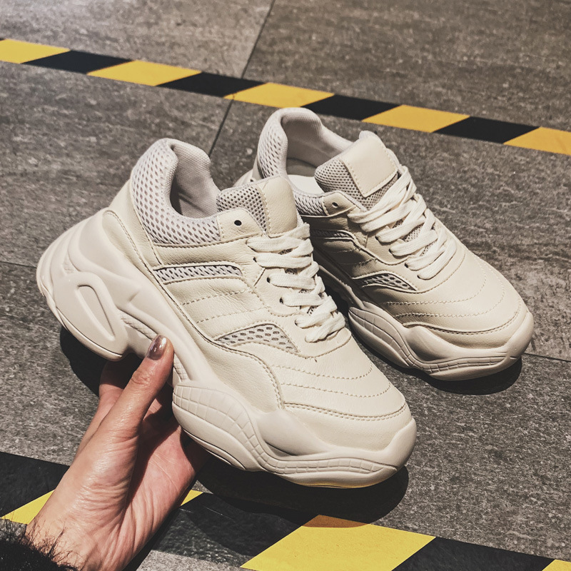 Tleni 2019 new running shoes Thick bottom sports shoes spring and summer All-match big size 35-40 white shoes ZW-06