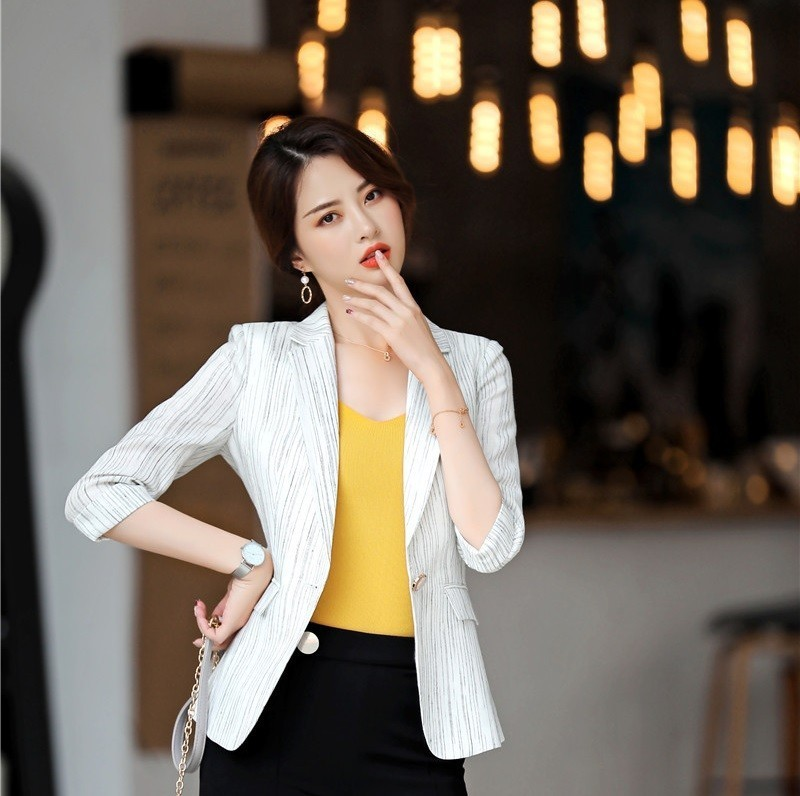 Novelty Striped Half Sleeve Formal Styles Women Business Blazers And Jackets Coat Half Sleeve Blazer Outwear Tops Clothes