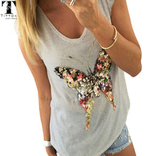 2018 Summer T Shirts for Women 3D Sequined Butterfly Short Sleeve Grey T Shirt Kawaii Womens Clothing Summer Tops Cute Tees(China)