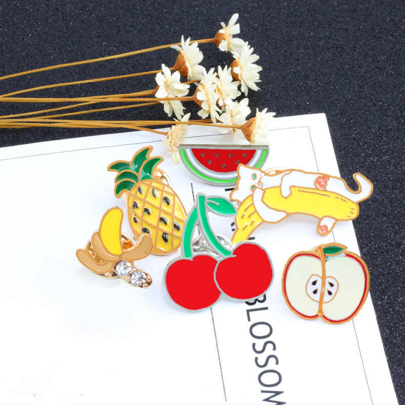 Kartun Buah Bros Lucu Pelangi Semangka Apple Pine Apple Ceri Pisang Jarum Enamel Jaket Kelapak Jarum Lencana untuk Wanita Perhiasan