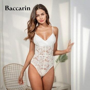 2020 Floral Embroidery Lace Bodysuit Women V Neck Elegant Ladies Sexy Jumpsuit Overalls