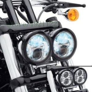 Image 4 - Per Moto Harley Dyna Fat Bob Motore Stile Testa Luci 4.5 pollici singolo basso del fascio e fascio singolo ad alta fascio di fatBob Dual Faro