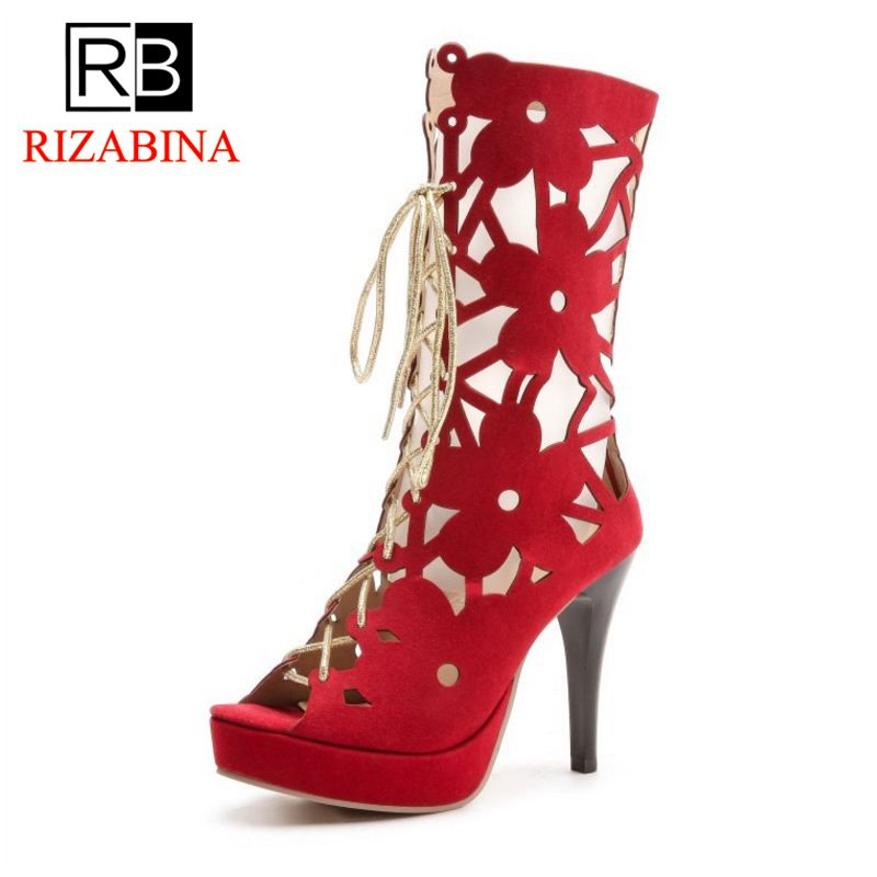 RIZABINA Size 32-44 Gladiator Women High Heel Summer Boots Platform Lace Up Hollow Out Spike Heeled Summer Boots Women Shoes