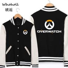 WHOHOLL Overwatch Print Baseball Uniform Coat Male Jaqueta Masculino Bomber Jacket Man Unisex Lovers Patchwork Appliques