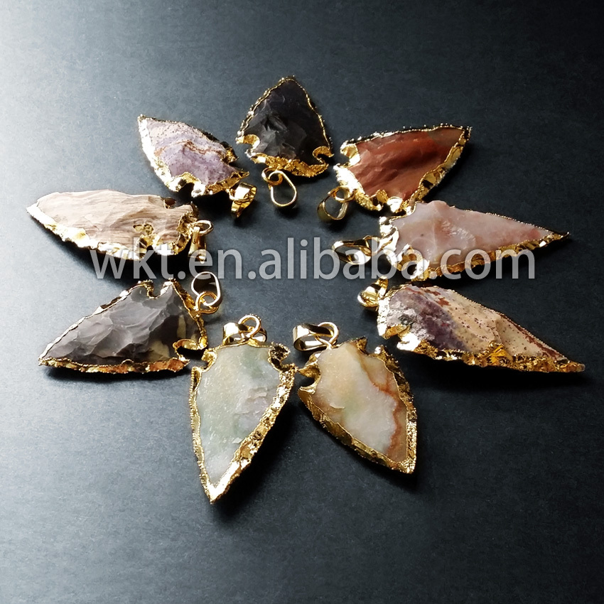 Wkt wholesale natural stone arrowhead pendant with gold color on the wkt wholesale natural stone arrowhead pendant with gold color on the edge in pendants from jewelry accessories on aliexpress alibaba group aloadofball Image collections
