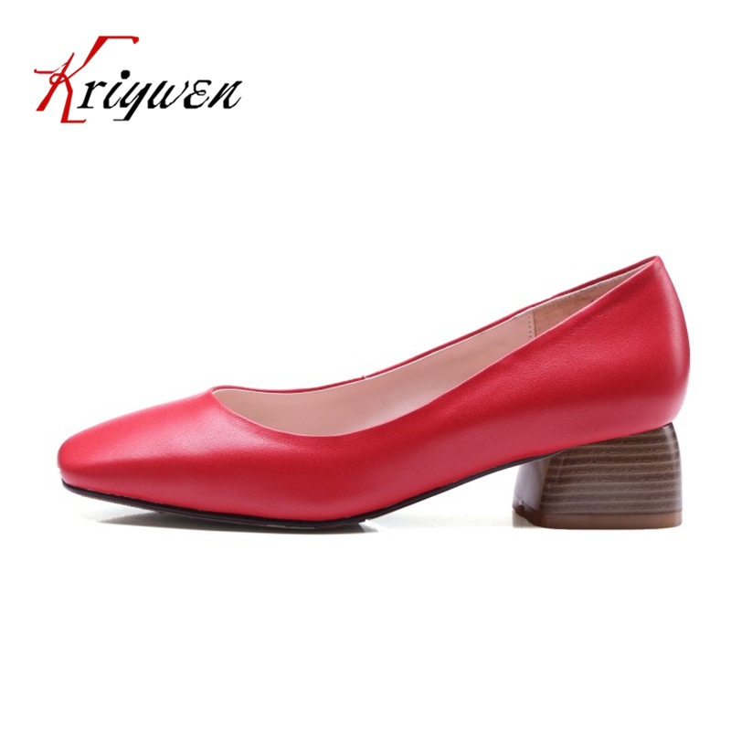 ФОТО Red brown beige Spring med heeled pumps for female classics women shoes for party slip on genuine leather femmes dress pumps