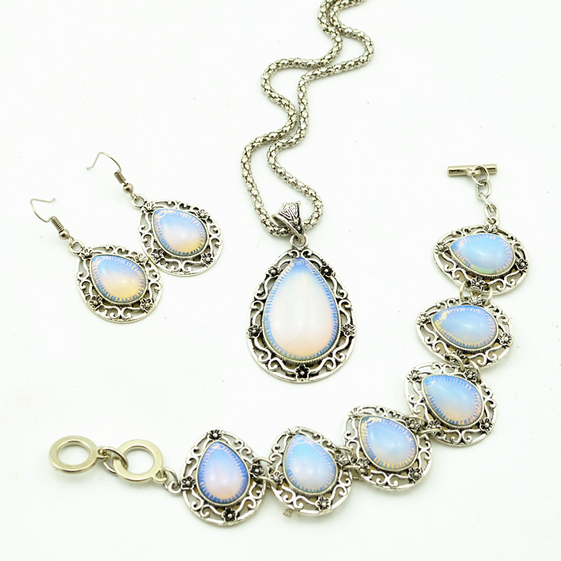 S99 Water Drop Opal Stone Hollow Necklace Pendant & Earring & Ring per Set Jewlery Set ,Vintage Look,Tibet Alloy, wholesaler