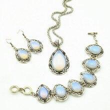 S99 Water Drop Opal Stone Hollow Necklace Pendant & Earring & Ring per Set Jewlery Set ,Vintage Look,Tibet Alloy, wholesaler