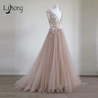 Pretty 3D Flower Long Evening Dresses 2018 Lace Blush Pink Tulle Evening Gowns V neck Formal Party Dresses Robe De Soiree