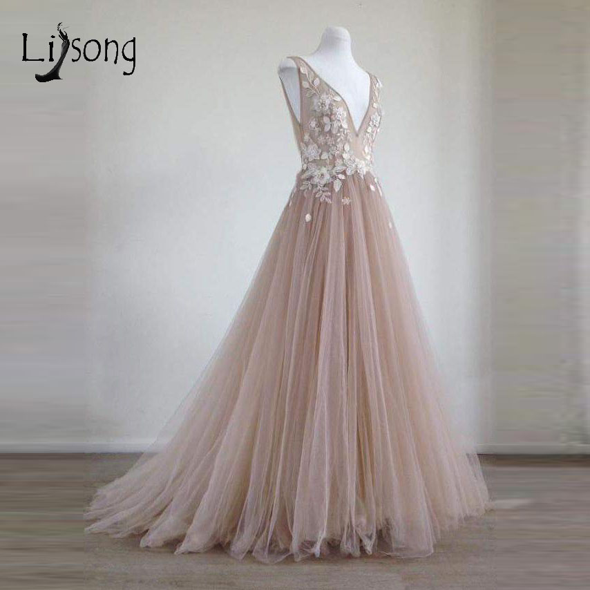 Pretty 3D Flower Long   Evening     Dresses   2018 Lace Blush Pink Tulle   Evening   Gowns V-neck Formal Party   Dresses   Robe De Soiree