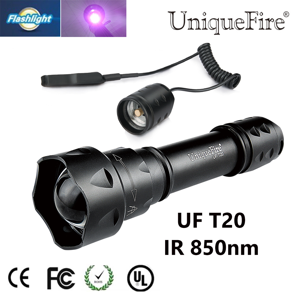 UniqueFire Mini T20 IR 850NM LED 3 Mode Zoomable Flashlight + Pressure Switch Use With Infrared Light Night Vision Torch dc 22 shining hot selling drop shipping outdoor uf t20 cree infrared ir 850nm night vision zoom led flashlight lamp