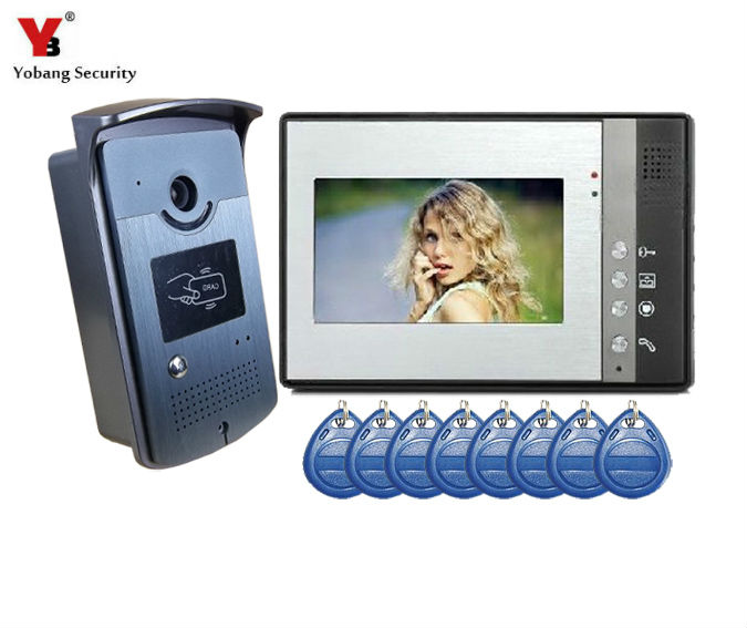 YobangSecurity 7 Inch Video Door Phone Doorbell Entry Intercom System Kit with 1-camera 1monitor IR RFID Access Control System yobangsecurity wired video door phone 7 inch lcd video doorbell door chime home intercom system kit with rfid access ir camera