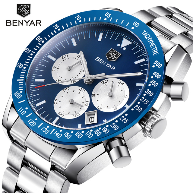 BENYAR Brand Men Sport Chronograph Watches All pointers work Waterproof Fashion Steel Stainless Quartz Watch dropshipping