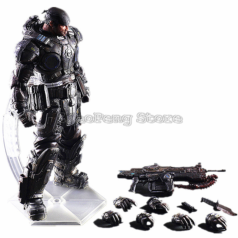 27cm Play Arts Marcus Fenix Game Gears of War 3 War Machine Collection Model Action Figure Doll Toys B90 майка классическая printio gears of war 2