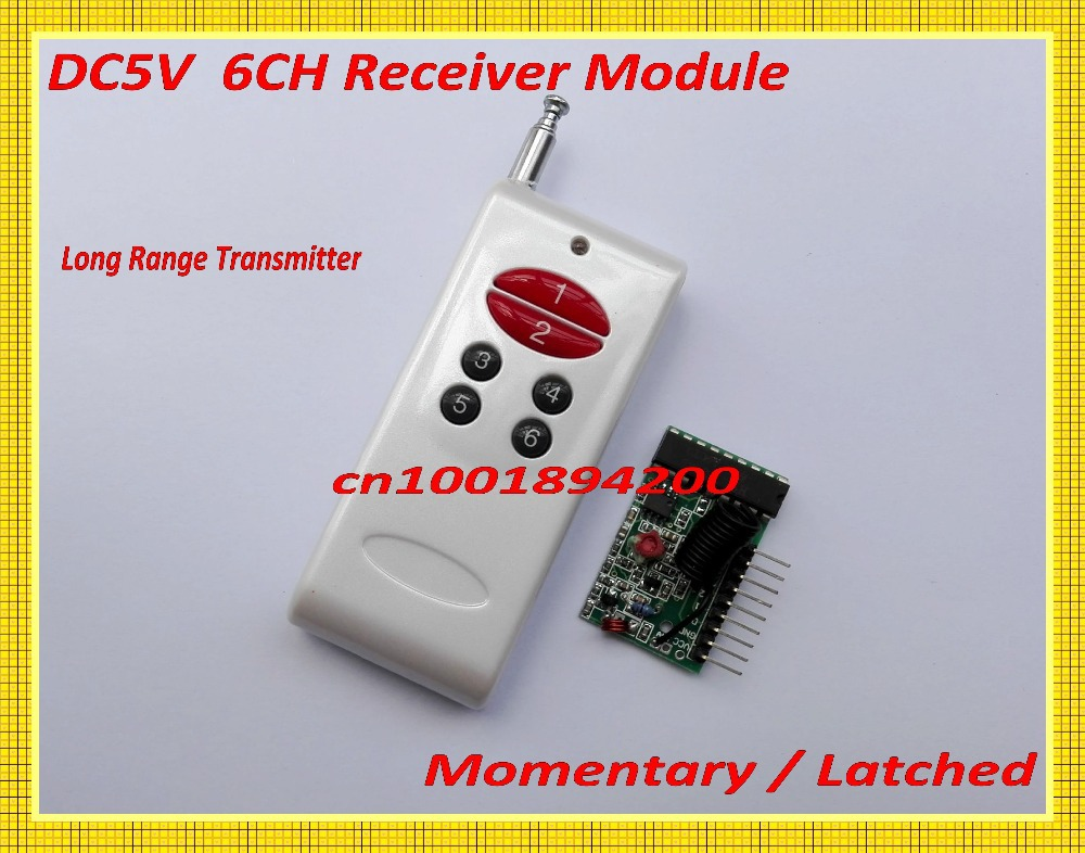 6CH Decoding RF Receiver Module&1Transmitter 1000M Wireless Remote Control Module System Momentary Latched TTL 6CH Signal Output freeshipping rs232 to zigbee wireless module 1 6km cc2530 chip