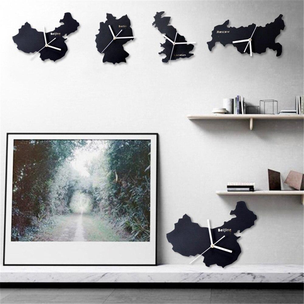 art modern minimalist wall clock unique national map design germany usa uk france russian geometric shape