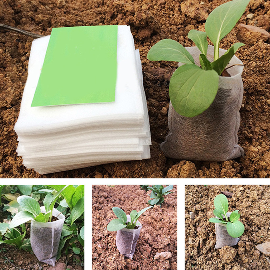 400Pcs Biodegradable Non-woven Nursery Bags Plant Grow Bags Fabric Seedling Pots Eco-Friendly Aeration Planting Bags L4