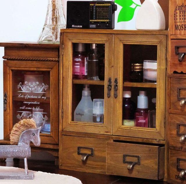 Zakka Vintage Glass Door Double Drawer Storage Cabinet Perfume