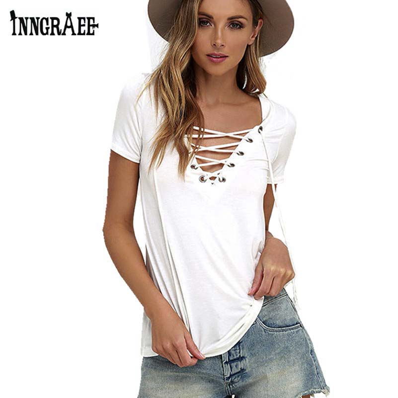 Inngraee 2017 women white t shirt sexy v neck bandage for Best casual t shirts