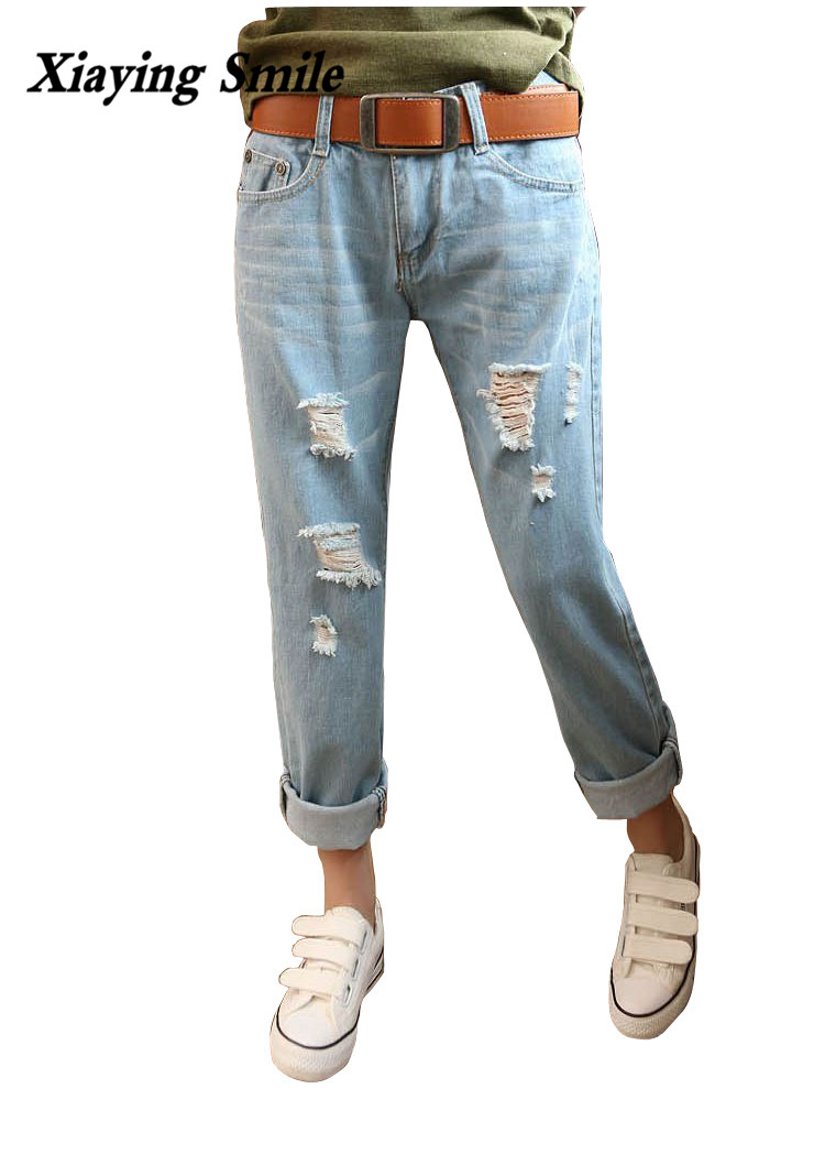 Xiaying Smile 2017 Spring Summer New Style Women Straight Pants Jeans Female Casual Comfortable Loose Big Size Calf Length Pants