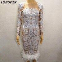 Блестящее белое платье со стразами с принтом перьев вечерние платья для выпускного вечера женские для певицы для сцены одежда для ночного к
