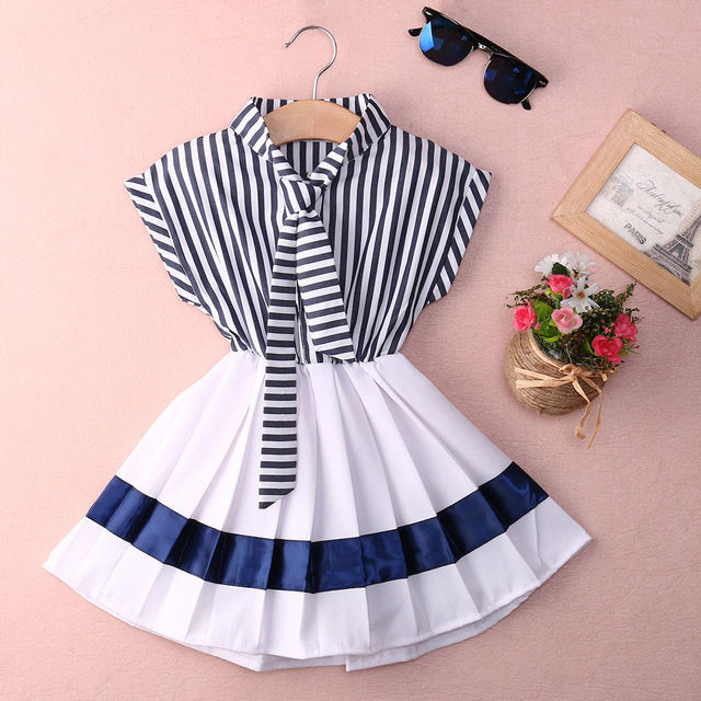 ac6055cf54f5 Retail 2016 Summer Style Baby Infant Girl Navy Striped cotton dress ...